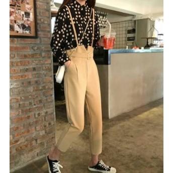 オルチャン 韓國 ファッション レディース オールインワン サスペンダー テーパードパンツ ハイウエスト ベルト付き 大人可愛い