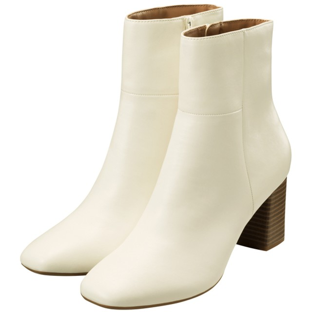 (GU)スクエアトゥヒールブーツ OFF WHITE S