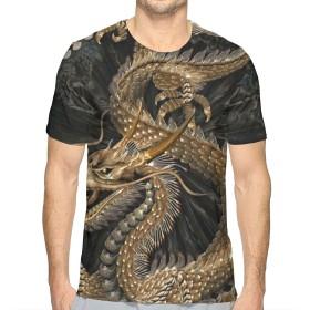 TradingCo 大人 男性着 半袖Tシャツ 龍 口 開ける Oネック ティー Tシャツ シャツ 通勤 通学 普段着 XL