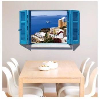 ウォールステッカー 壁紙 壁紙シール ルームデコレーション 壁装飾 トリックアート 3D 立体的 だまし絵 窓 海