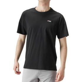 FILA(フィラ) ワンポイント刺繍Tシャツ 半袖Tシャツ クルーネック ドロップショルダー FH7521 メンズ ブラック:XL