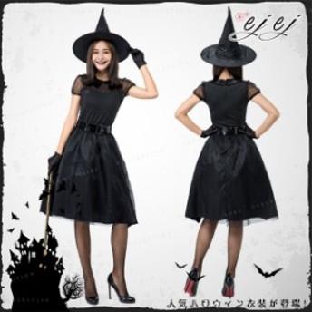 ハロウィン 魔女 4点セット 女王様 巫女 パープル 帽子付きハロウィン コスプレ ブラック セットコスチューム
