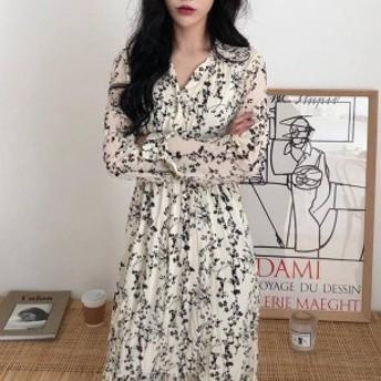 オルチャン 韓國 ファッション ワンピース ワンピ レディース 花柄 ロング Vネック ワッシャー シワ加工 長袖 ゆったり レ