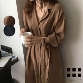 ロング シャツ ブラウス ワンピース カーディガン 2color とろみ素材 長袖 羽織り ラフ レディース