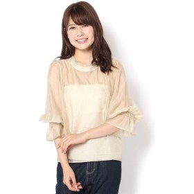OUTLET(アウトレット) レディース 【WHO'S WHO gallery】シアーギャザーブラウス ベージュ