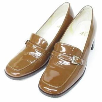 【中古】ヨンドシー 4℃ ローファー パンプス エナメル チャンキーヒール 靴 ブラウン 23.5cm レディース
