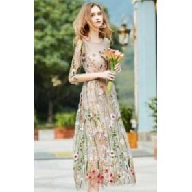 韓國 ファッション レディース パーティードレス ワンピース ロング 大きいサイズ シースルー エレガント 刺繍 花柄 七分袖