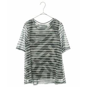 HIROKO BIS 【洗濯機で洗える】ボーダープリント Tシャツ&タンクトップ Tシャツ・カットソー,グリーン