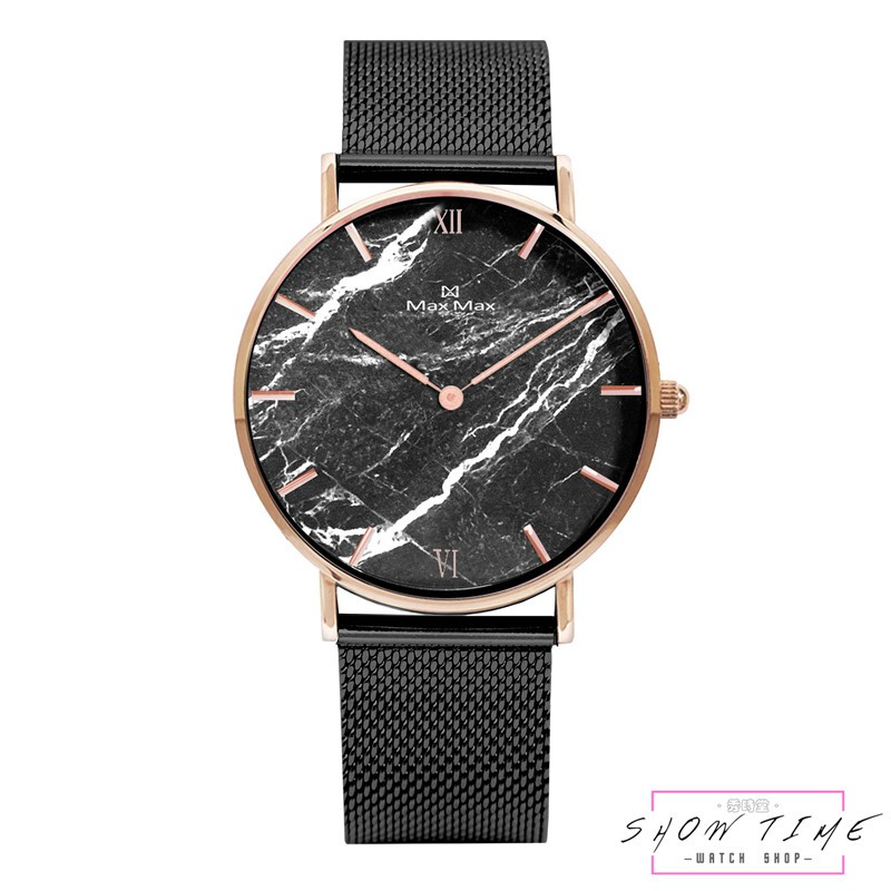 Max Max 大理石紋路簡約腕錶-米蘭鋼帶/黑面黑 MAS7025-7 [ 秀時堂 ]