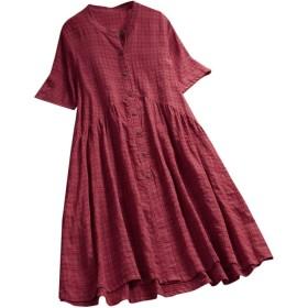 ドレス レディース Luguojun ワンピース 半袖 赤青 チェック柄 綿麻 シンプル vネック 可愛い やさしい 人気 無地 カジュアル 薄手 おしゃれ きれいめ 森ガール 学院风 上着 夏 女性 大きいサイズ 旅行 パーティー シャツ デート サンドレス