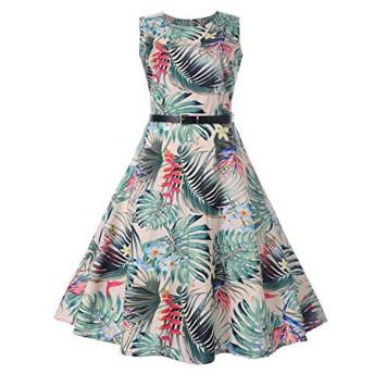Nicircle 女性のヴィンテージ印刷ボディコンノースリーブカジュアルイブニングパーティーウエディングスイングドレス Women Printing Sleeveless Dress