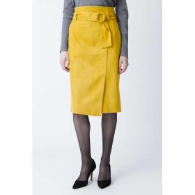 PINKY & DIANNE ◆フェイクスエードリングベルトスカート ひざ丈スカート,イエロー