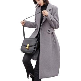 BSCOOL ロングコート無地チェスターコート厚手防寒コート韓国ファッションゆるアウターフェミニン通勤コート(Cグレー)