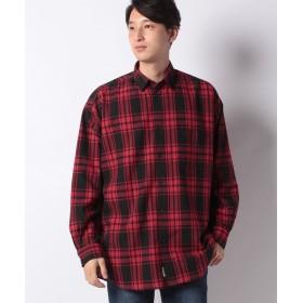 コムサイズム ビッグ チェックシャツ ユニセックス レッド M 【COMME CA ISM】