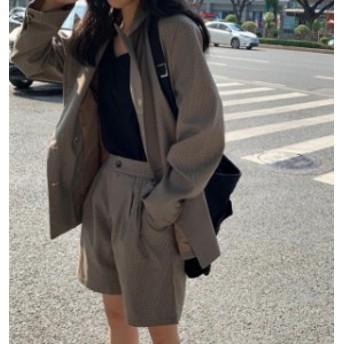 韓國 ファッション レディース セットアップ チェック ジャケット ショートパンツ ハイウエスト ゆったり 長袖 カジュアル レ