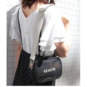 【ROPE' PICNIC:バッグ】【Beau're】ロゴプリンスクエアショルダーバッグ