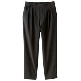 [nissen(ニッセン)] すごく伸びるタック入9分丈テーパード パンツ 股下61cm レディース 黒 M
