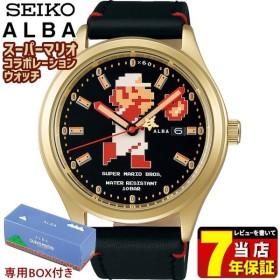ALBA SEIKO 自動巻 カーフ 限定モデル スーパーマリオコラボ ビッグサイズマリオシリーズ メンズ 腕時計 ブラック ゴールド ACCA701 国内正規品
