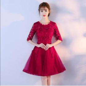 冠婚 レッド ウェディングドレス ワンピース 大きいサイズ 綺麗 可愛い パーティードレス プリンセスライン 花嫁 袖あり ワンピ 女性 素
