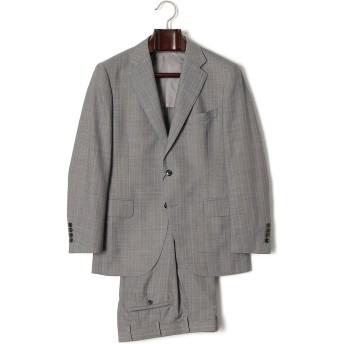 【79%OFF】ストライプ ノッチドラペル スーツ グレー a4