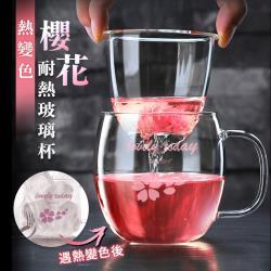 日式熱轉色櫻花耐熱玻璃泡茶杯