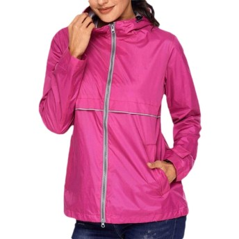 Keaac Women Lightweight Hood Breathable Active Hiking Travel Coat Outwear Jackets Rose Red S