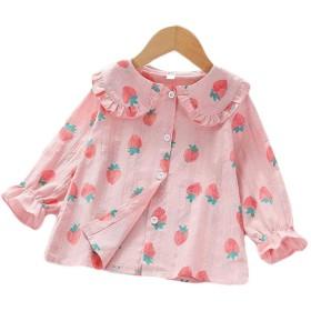(フッカツ)ブラウス フリル キッズ 女の子 トップス シャツ 子ども服 春 夏 長袖 果物 プリント かわいい コットン 綿 冷房対策 UVカット カジュアル プレゼント ピンクa130