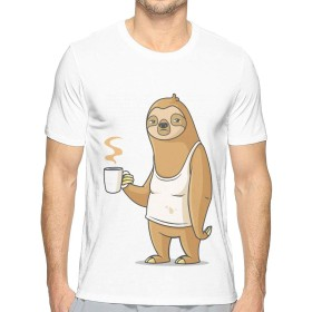 Tシャツ メンズ 半袖 薄手 吸汗速乾 汗染み防止 緩い 夏 セクショ ンのファッション お茶を飲むナマケモノ