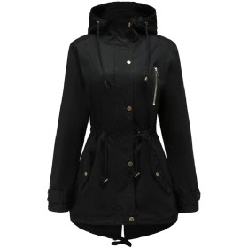 gawaga レディース巾着ウエストジッパースリムフィット秋トレンチジャケットコート Black XL