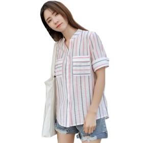 [Bestmood]ストライプシャツ レディース ゆったり ブラウス 七分袖 ストライプ柄 ファッション シフォンシャツ 爽やか ボタン付き おしゃれ トップス 夏(Pピンク)