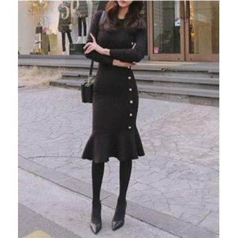 オルチャン 韓國 ファッション ニットワンピース ニットワンピ ひざ丈 セーター マーメイド セクシー パーティー お呼ばれ 大