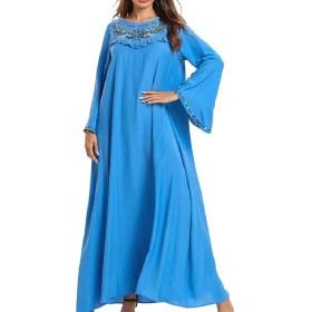 AngelSpace 女性イスラムドレスステッチ週末ロングスリーブプラスサイズイスラム教徒 Blue XL