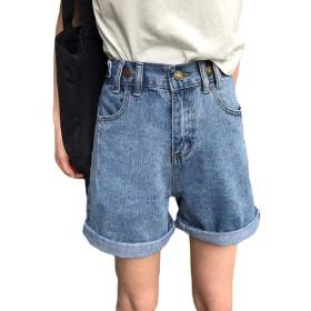 [Bestmood]ショートパンツ レディース ゆったり 短パン ハイウェスト ファッション デニムパンツ ヴィンテージ 原宿系 夏(Vブルー)