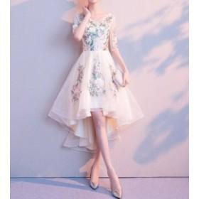 大きいサイズ パーティードレス ワンピース フィッシュテール 花柄 透け感 レース 上品 お呼ばれ 二次會 結婚式 韓國 オルチ