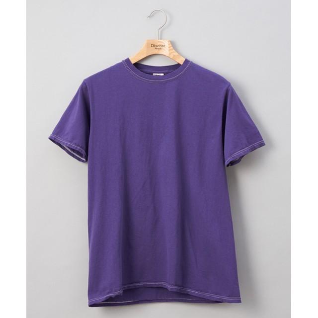 Discoat(ディスコート) メンズ フルールオブザルーム 後染めカラーTシャツ パープル