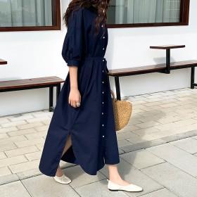 2019\高レビュー春夏人気商品/韓国のファッション ワンピース レディに仕上がる 3WAYガウンワンピース 前開きシャツワンピース オンオフ問わず使いまわしの効くシャツワンピース。