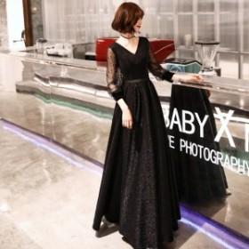 パーティードレス 結婚式 ロングドレス 黒 赤 大きいサイズ Vネック ミモレ丈 長袖 パフスリーブ ドット ウエストマーク 大人 上品 お呼