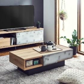 【国産】コンクリート調デザインのリビングテーブル