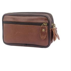 ゼロ財布メンズレザー断面ジッパー財布シンプルなソリッドカラー携帯電話バッグコインバッグ 大きな ライトブラウン