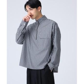(tk. TAKEO KIKUCHI/ティーケー タケオキクチ)ハーフジップスタンドストライプシャツ/メンズ ダークネイビー(394) 送料無料