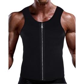 LAXINQ トレーニング 加圧シャツ メンズ タンクトップ 着圧スポーツ インナー コンプレッションウェア ダイエット サウナスーツ エクササイズ ダイエット 減量用 発汗 お腹まわり 脂肪燃焼 お腹引き締め 腹筋 ブラック 男性用