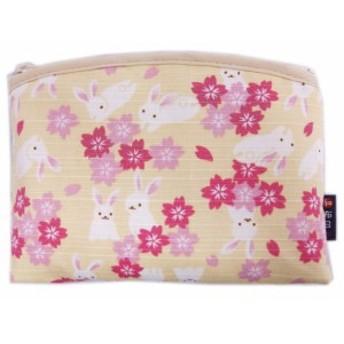 ポーチ 和柄 ファスナー お化粧 コスメ 小物入れ 日本製 桜うさぎクリーム 女性用 レディース