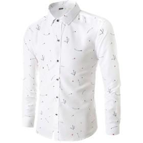 GodeyesW メンズフィットロングスリーブボタンダウン春パターンドレスシャツ White M