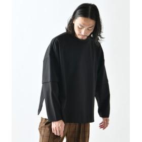 Lui's(ルイス) メンズ レイヤードスリーブ サイドスリットビッグシルエットロングTシャツ ブラック