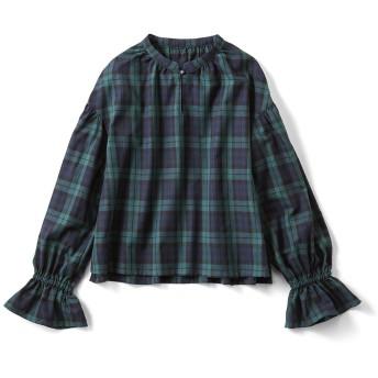 きゅっとボリューム袖のチェックトップス〈ブラックウォッチ〉 S