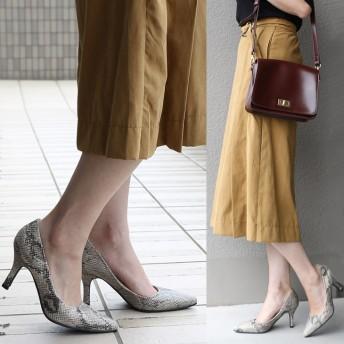 パンプス - AmiAmi 低反発インソール!美脚8.5cmヒールポインテッドトゥパンプス秋冬 スエード スムース パイソン レディース靴 ヒールプレーン痛くないベーシック ベルベット レパード スエード SSSサイズ シューズ 靴