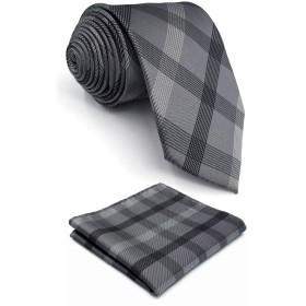 (シッラクスとウイング) Shlax&Wing ストライプ灰色しまチェック紳士シルクネクタイ礼服ビジネスロング