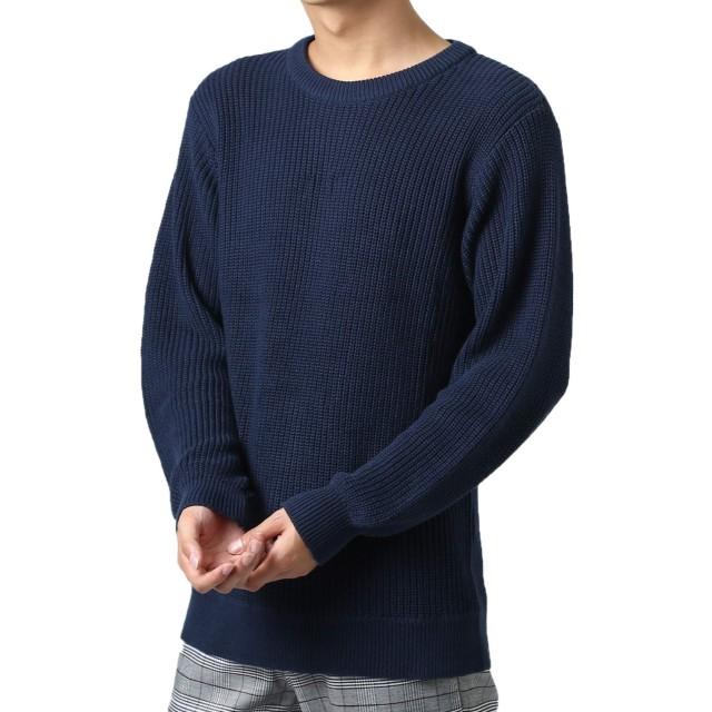 インプローブス ニット メンズ セーター あぜ編み クルーネックニット Uネック 長袖 あったか 暖かい ネイビー M サイズ