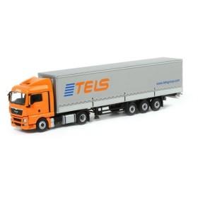 Tels MAN TGX XLX カーテンサイダートレーラー 3軸 トラック /WSI 1/50 建設機械模型 ミニカー