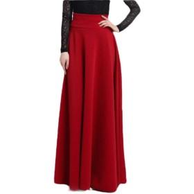 maweisong 女性の緩い高ウエストプリーツラインフロア長クラブロングマキシスカート Wine Red XS